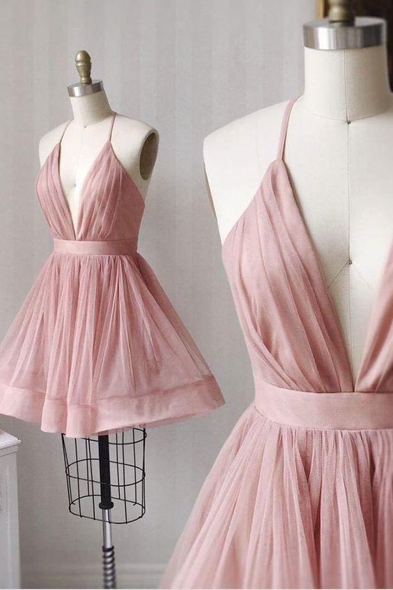 Simple v neck tulle pink short prom dress  M6590