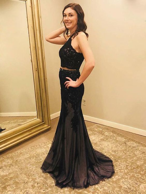 Black Halter Two Piece Appliques Lace Prom Dress, Tulle Long Evening Party Dress