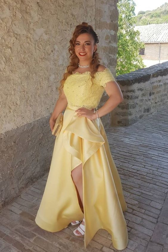 two piece yellow long prom dress with off the shoulder neckline M6597