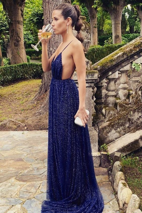 Sexy navy blue pluning neckline tulle long prom dress evening dress  M6599
