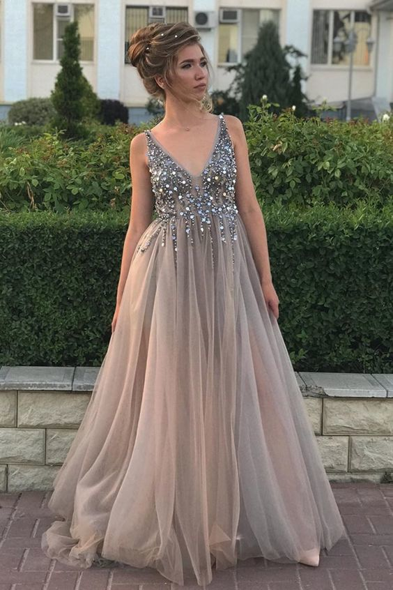 grey A-line tulle and v neck sequins long formal dress evening dress  M6600