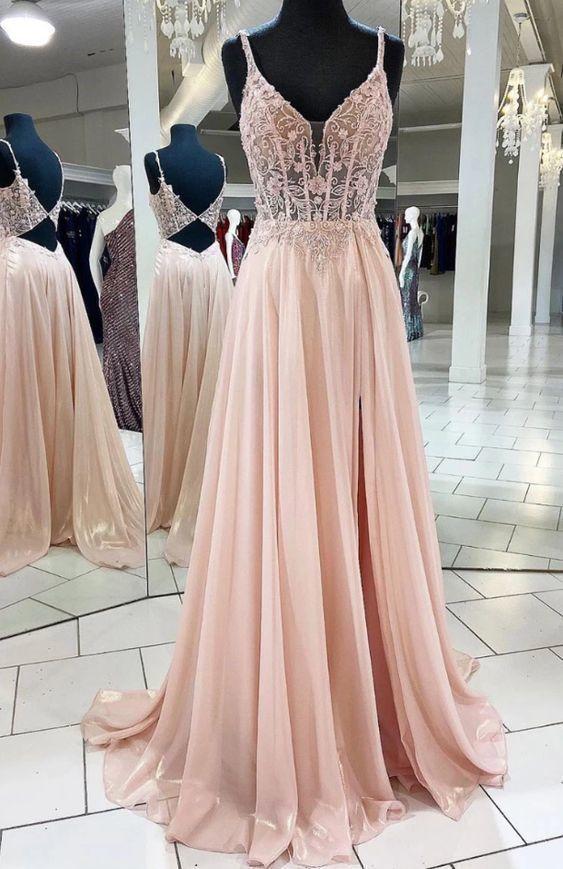 Pink v neck lace chiffon long prom dress, pink formal dress  M6601
