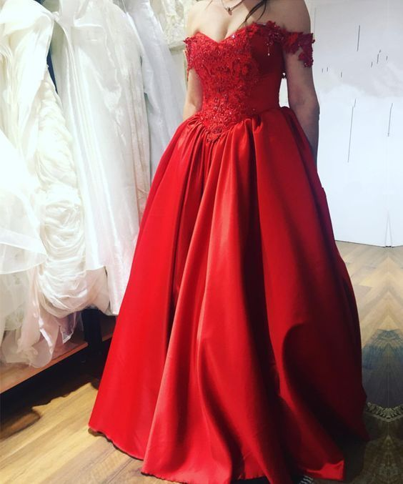 Off The Shoulder Long Red Prom Dress M6602