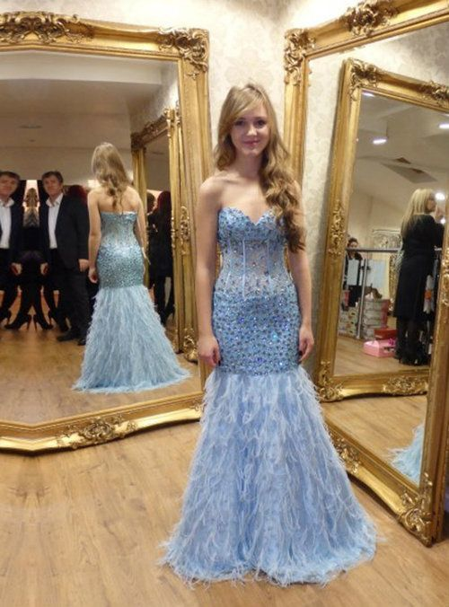 Sweetheart Blue Long Prom Dress, Mermaid Prom Dress With Beading M6604