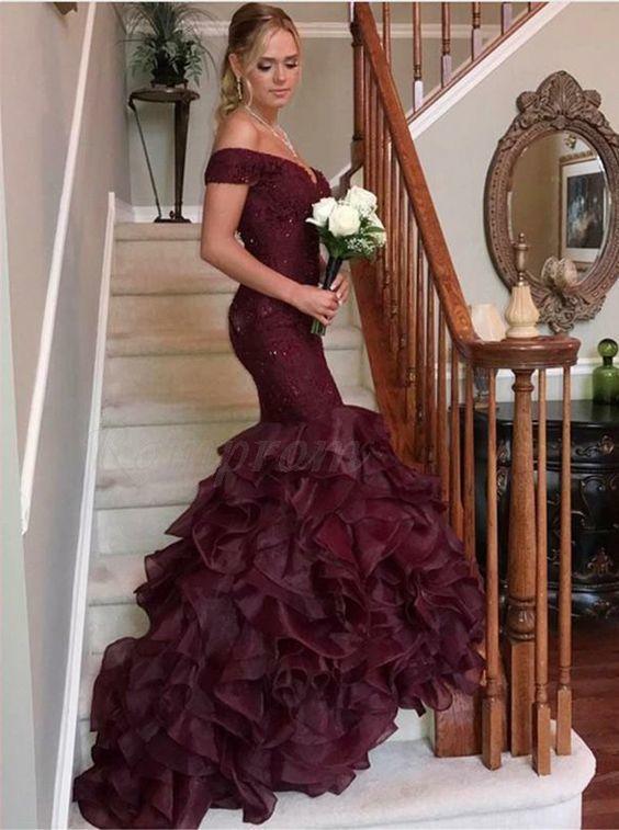 Mermaid Off the Shoulder Burgundy Prom Dress M6605