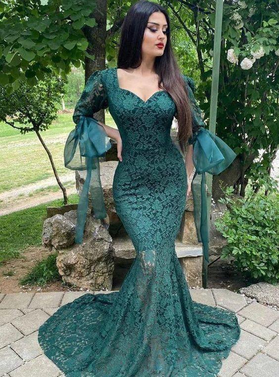 Green Mermaid Lace Puff Sleeve Illusion Big Bow Prom Dress M6607