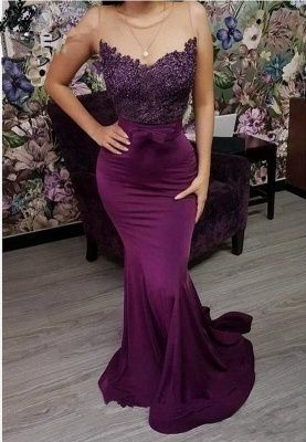 Mermaid lace long prom dress M6609