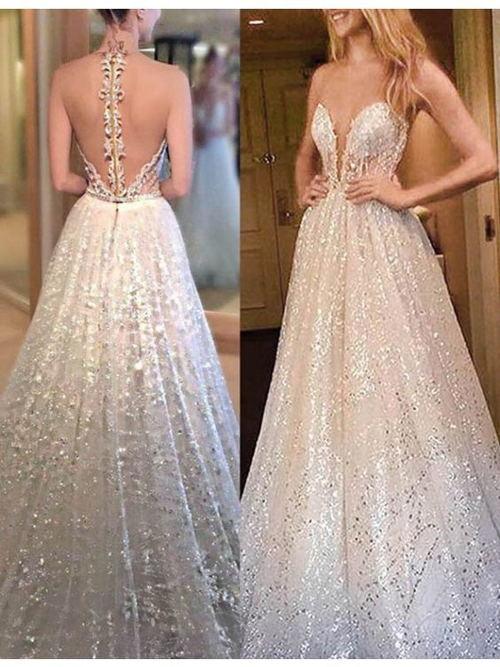 A-Line Sweetheart Sweep Train Sequins White Prom Dress with Illusion Back M6616