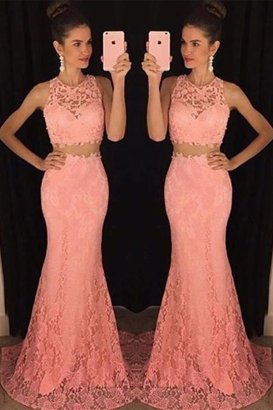 Mermaid Lace Two Pieces Prom Dresses For Teens M6620