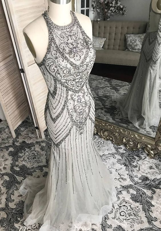 Mermaid Gray Long Prom Dress With Beadings M6622