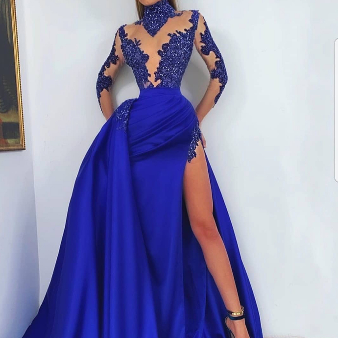 high neck prom dresses with overskirt lace applique royal blue beaded arabic