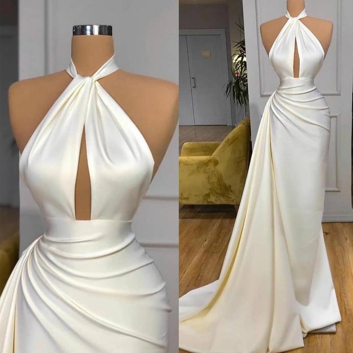 off white evening dresses long 2021 detachable skirt simple satin elegant cheap