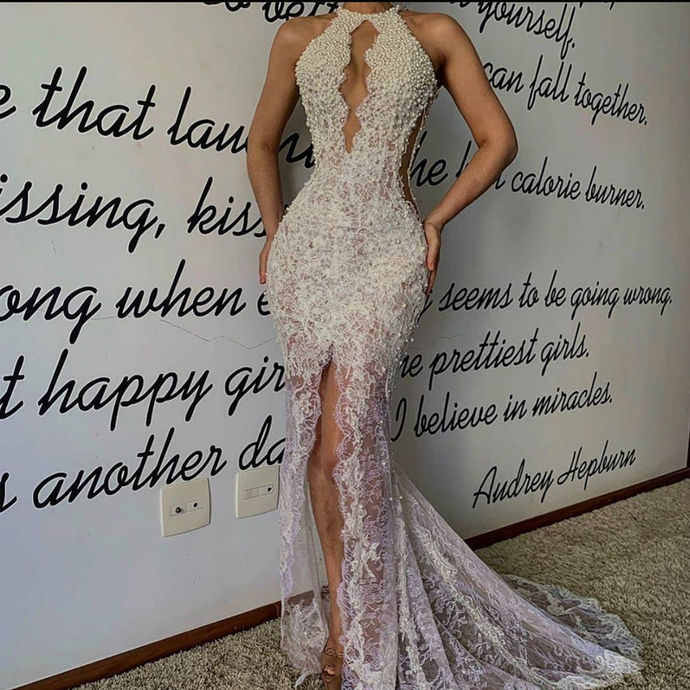 sexy formal evening dresses long high neck beaded lace applique mermaid elegant