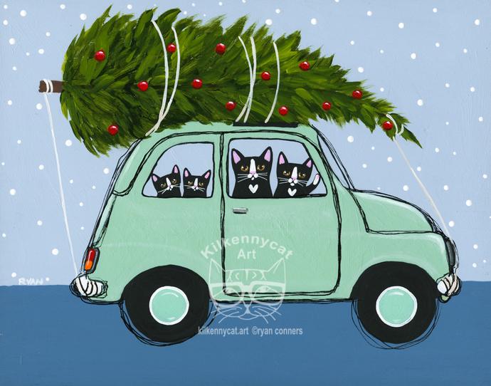 Bringing Home The Christmas Tree Teal Car Original Cat Folk Art Painting