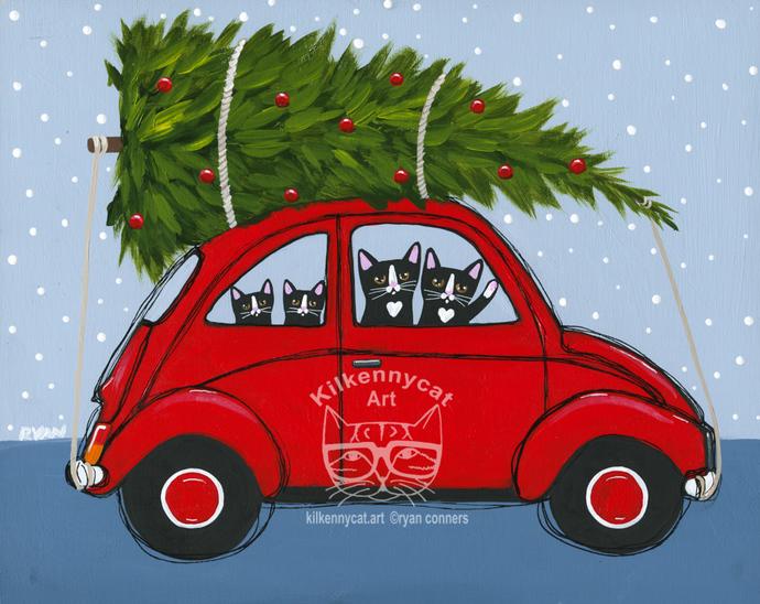 Bringing Home The Christmas Tree Red Car Original Cat Folk Art Painting
