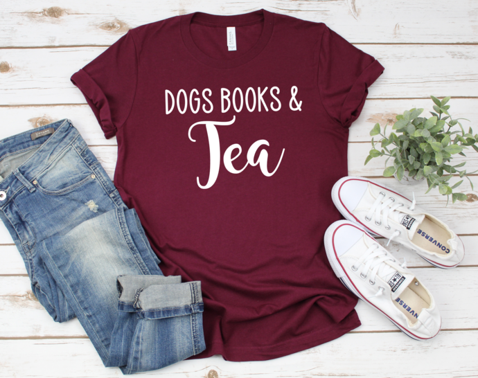 Copy of Dog coffee Tshirt, Dog Lover Gift, Dog Mom Shirt, Dogs Books And Coffee,