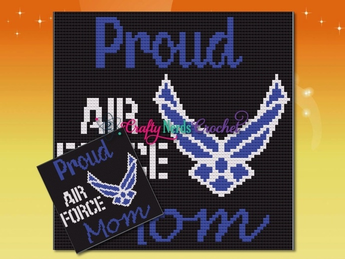 Proud Air Force Mom Pattern Graph With Mini C2C Written