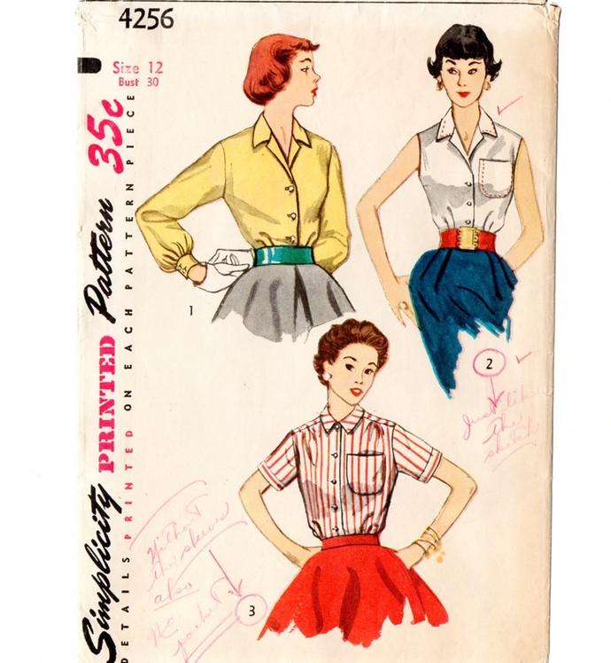 Simplicity 4256 Misses Blouse 50s Vintage Sewing Pattern Uncut Size 12 Bust 30