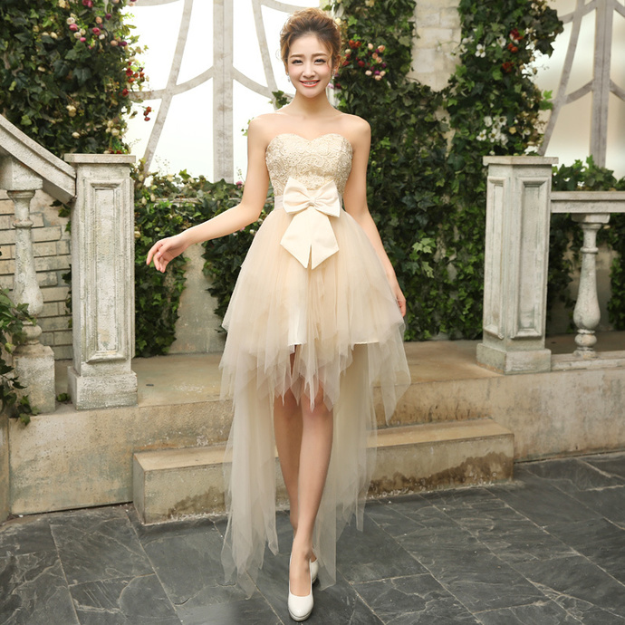 High Low Lace Cute Homecoming Dress with Low, Graduation Dress