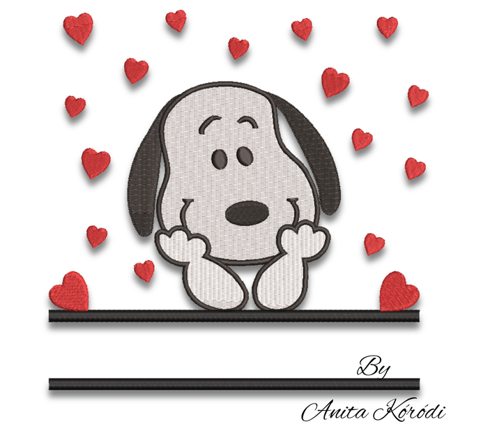 Snoopy split embroidery design monogram machine pes pattern