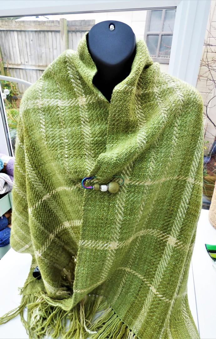 Luxury Hand Woven Shawl Using Handspun Organic Merino Wool Natural / Eco Dyed