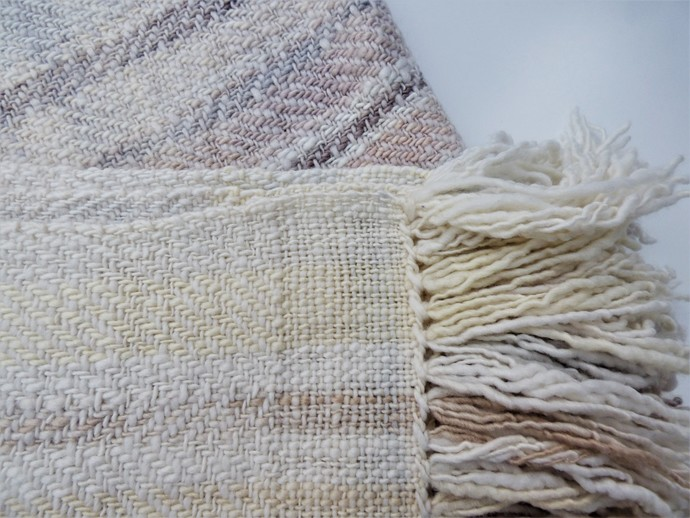 Luxury Hand Woven Shawl Using Handspun Organic Merino Wool Natural / Eco Solar