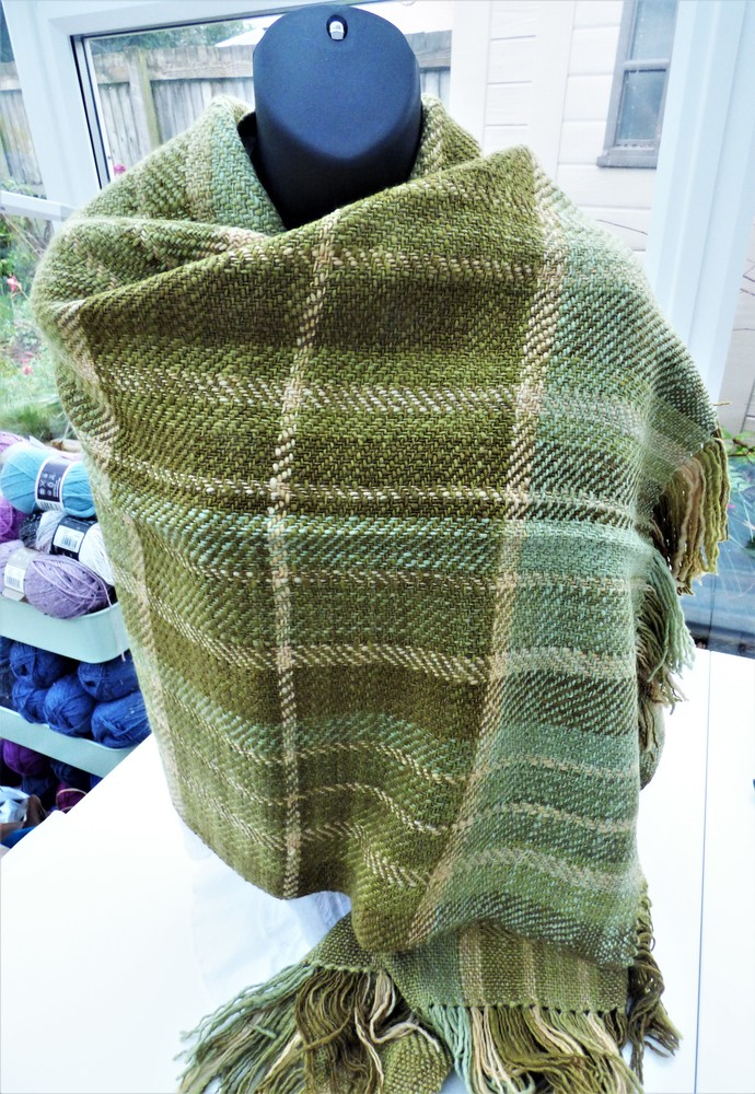 Luxury Hand Woven Shawl Using Handspun Organic Merino Wool Natural / Eco Dyed