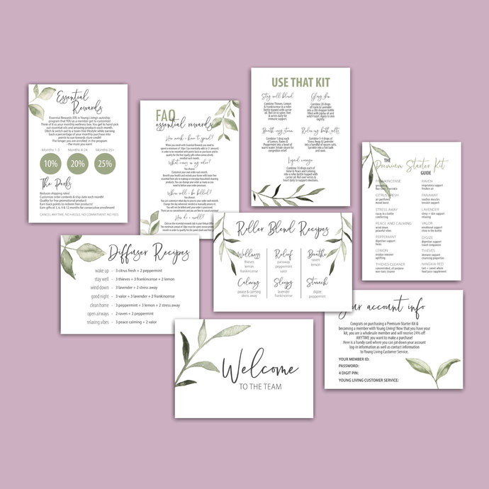 Greenery PRINTABLE Young Living Member Welcome Kit, Starter Kit Welcome YL62