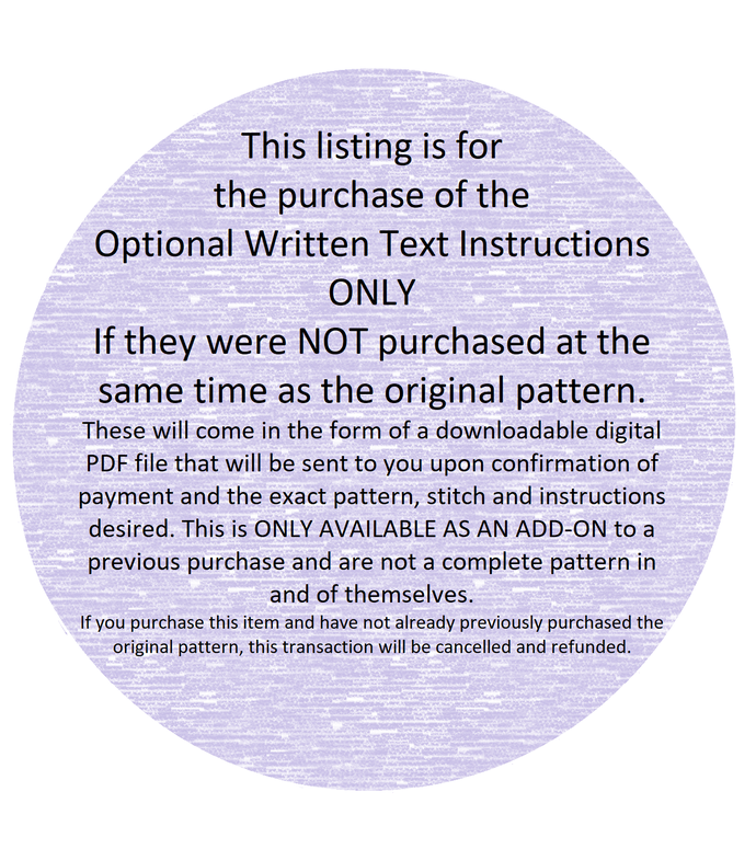Optional Written Text Instructions Add-On for Previously Purchased Graphghan