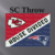 House Divided, Chiefs & Patriots, SC Adult Throw. Includes Graph, color coded