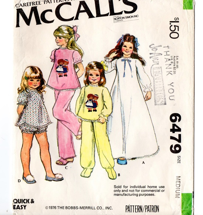 McCall's 6479 Girls Pajamas, Nightgown 70s Vintage Sewing Pattern Size Med 6-8