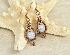 Gift for Women or Her Sterling Silver Sodalite /& Amazonite Earrings High Quality Wire Wrapped Argentium Fine Jewelry E135