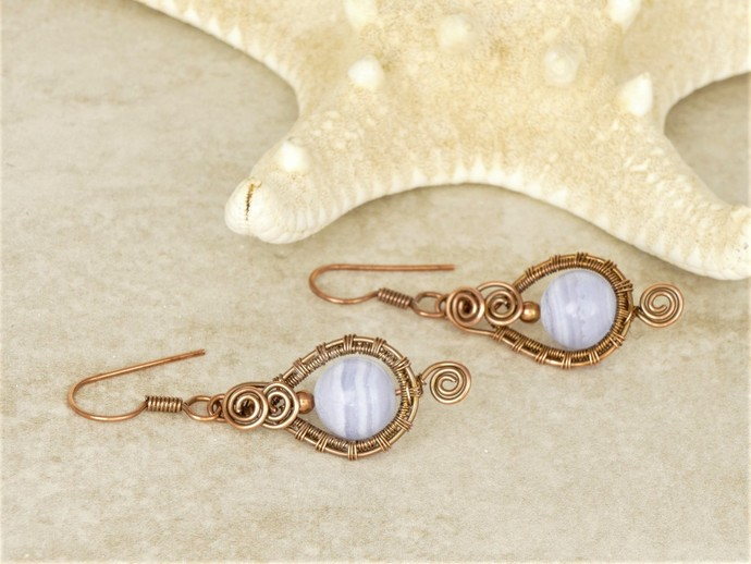 Blue Lace Agate Dangle Spiral Copper Earrings - High Quality Wire Wrapped Woven