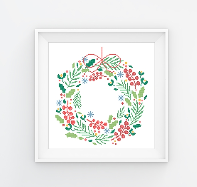 #507 Christmas tree wreath Merry Christmas Modern Cross Stitch Pattern, winter