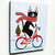 Christmas Bicycle Ride Original Cat Folk Art Painting