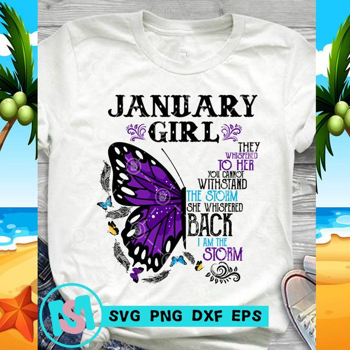 January Girl Butterfly SVG, January Girl SVG, Butterfly SVG, Quote SVG, Funny
