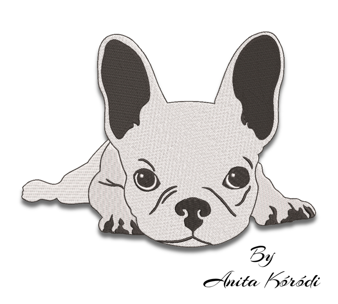 Cute French Bulldog embroidery machine designs machine pes pattern dog