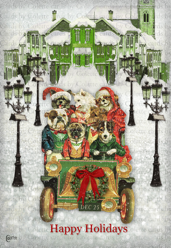 Christmas Dogs Shopping Digital Collage Greeting Card3082