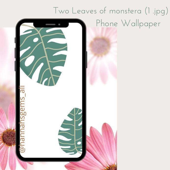 Monstera Leaf Digital Art Phone Wallpaper
