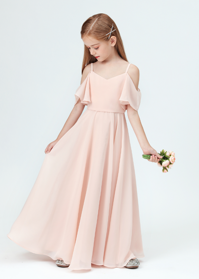Flower Girl Dresses,Girls Bridesmaid Dresses Off-Shoulder Ruffled Sleeves For