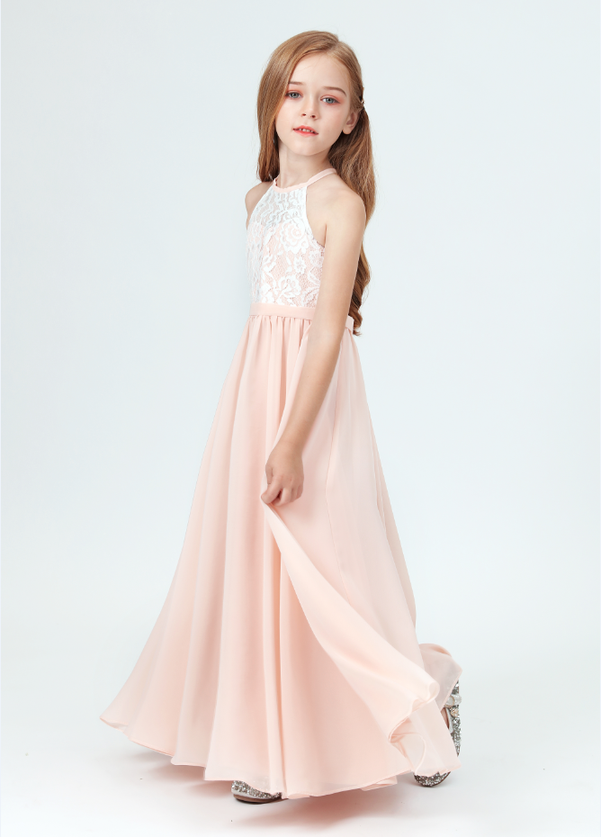Flower Girl Dresses,New Girls Lace Bridesmaid Dresses For Wedding Pleated Floor