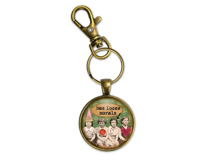 Loose Morals fun purse charms or key rings with sassy sayings.  Fun gift for a