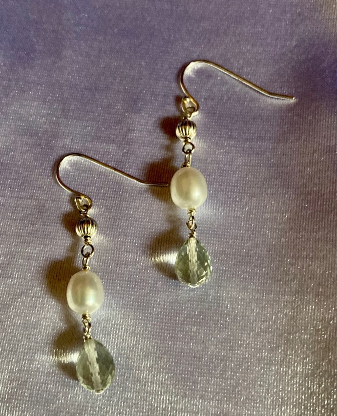 """The Green Amethyst with the Pearls Earring"""
