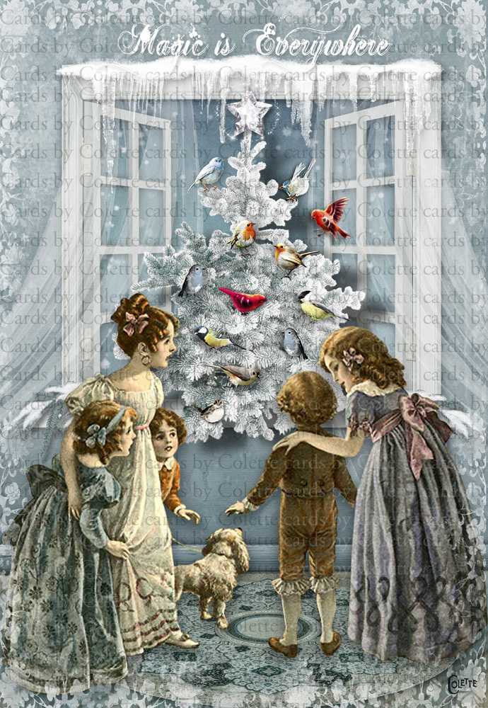 Christmas Magic is Everywhere Digital Collage Greeting Card3086