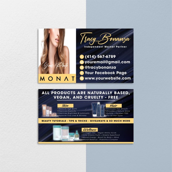 Premium Monat Business Cards, Premium Custom Monat Business Cards, Monat Care
