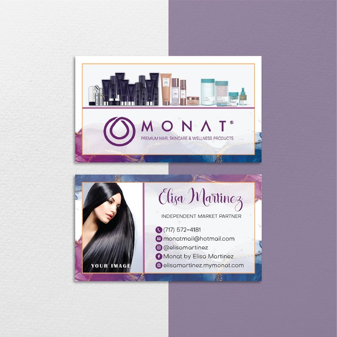 Vintage Monat Business Cards, Vintage Custom Monat Business Cards, Monat Care