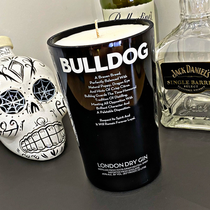 BULLDOG GIN CANDLE, French Pear Fragrance, Soy Wax Candle, Bottle Candle,