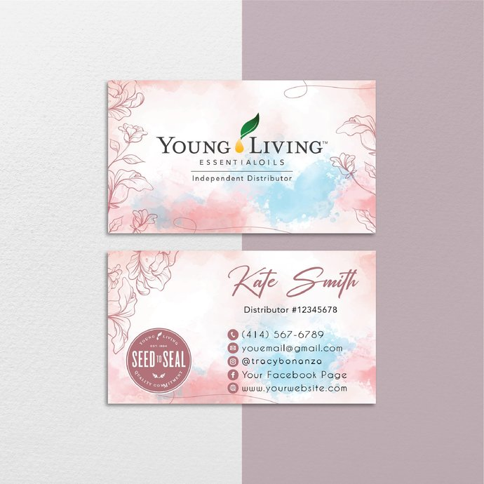 Personalized YLEO Business Cards, Vintage Young Living Business Cards, Printable