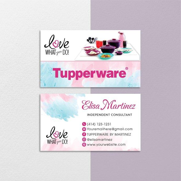 Personalized Tupperware Business Card, Watercolor Custom Tupperware Business,