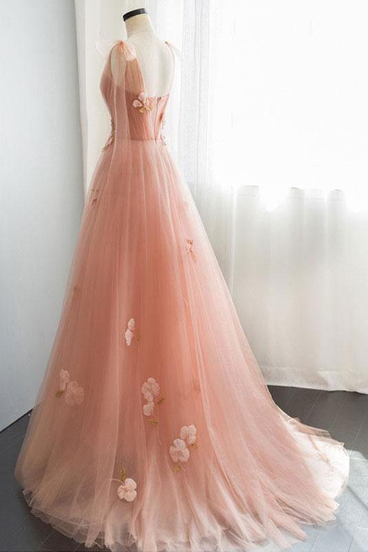 Beautiful Pink Tulle Floral Long Party Dress, Elegant Pink Formal Dress